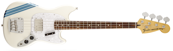 Fender Pawn Shop Mustang Bass Guitar, Olympic White with Stripe