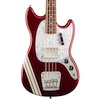 Fender Mustang Bass Guitar, Candy Apple Red with Stripe
