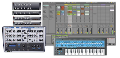 Ableton Live 9, Novation Bass Station, V-Station, Focusrite Plug-In Suite